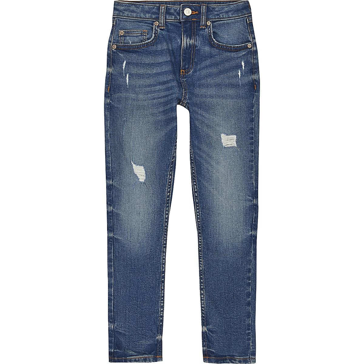 Sid – Dunkelblaue Skinny Jeans im Used-Look
