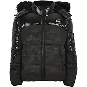 Boys black camo high shine puffer jacket