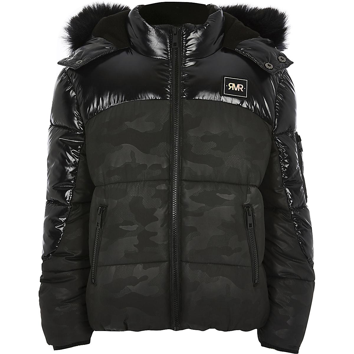 Kids - Zwart hoogglanzende gewatteerde jas