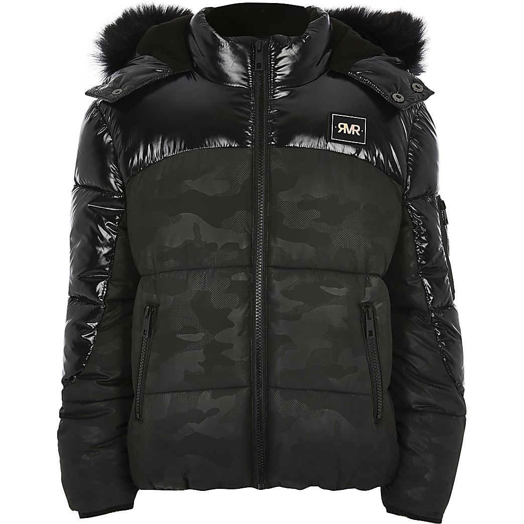 Kids black camo high shine puffer jacket