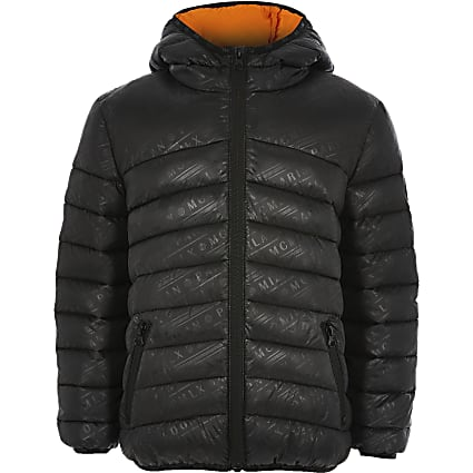 Boys black printed padded jacket