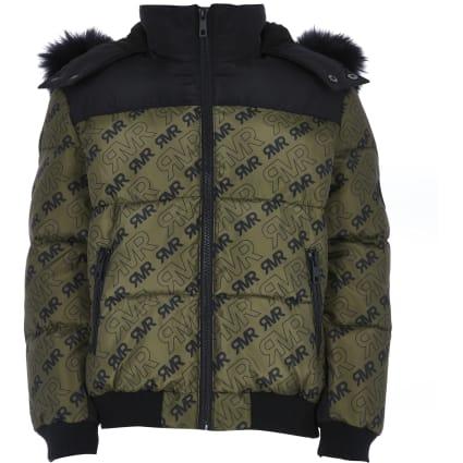Boys khaki RI print puffer jacket