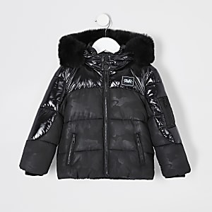 Mini boys black camo puffer jacket
