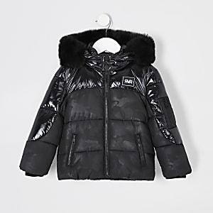 Mini - Zwarte gewatteerde jas met camouflageprint voor jongens