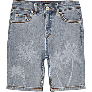 Boys light blue skinny fit palm print shorts