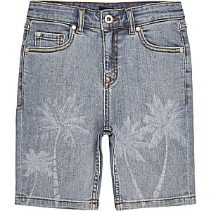 Lichtblauwe skinny-fit short met palmboomprint voor jongens