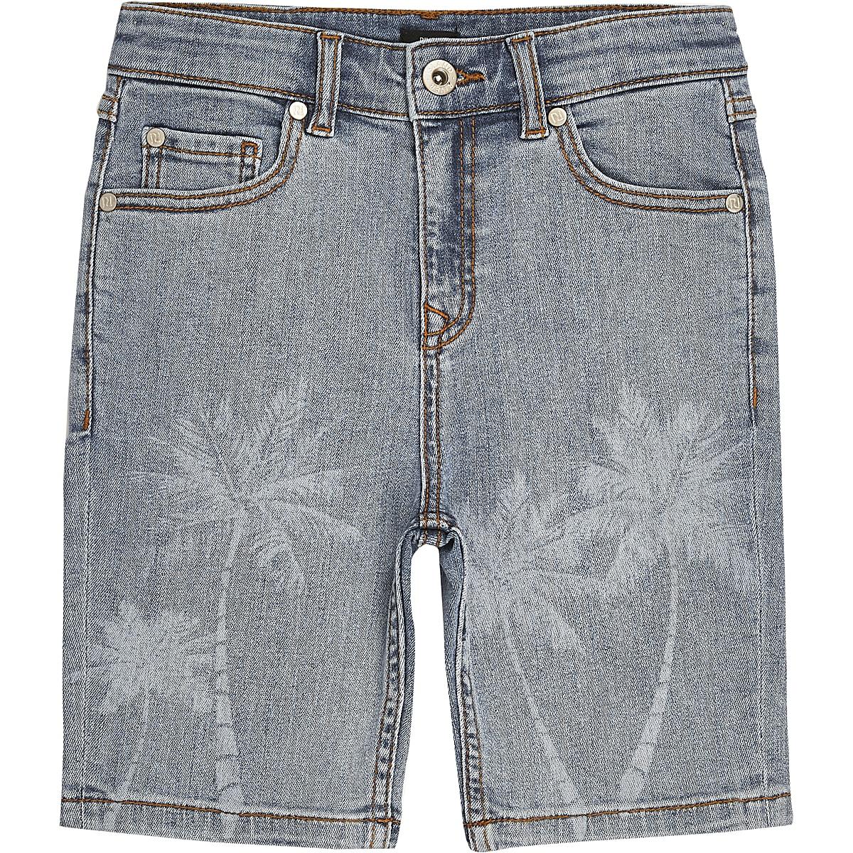 Boys light blue skinny fit palm print shorts