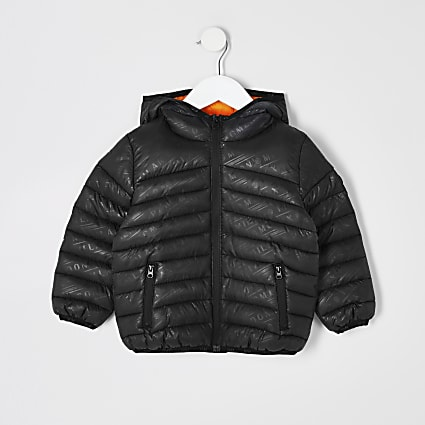 Mini boys black printed padded jacket