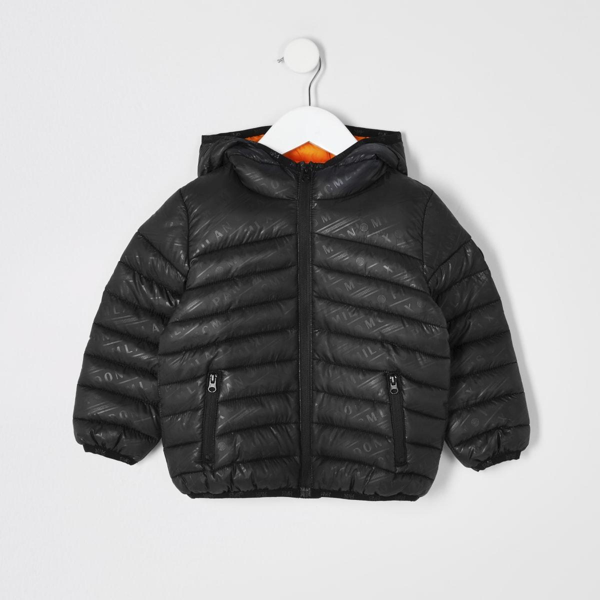 Mini boys black printed padded jacket