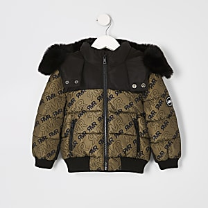 Mini - Kaki gewatteerde jas met RI-logo voor jongens