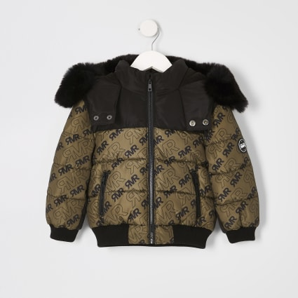 Mini boys khaki RI puffer jacket