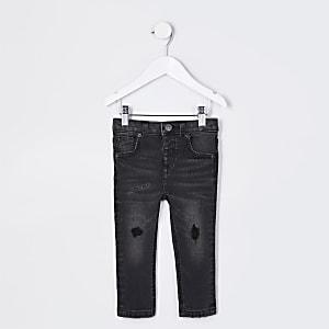 Mini - Sid - Zwarte wash ripped skinny jeans voor jongens