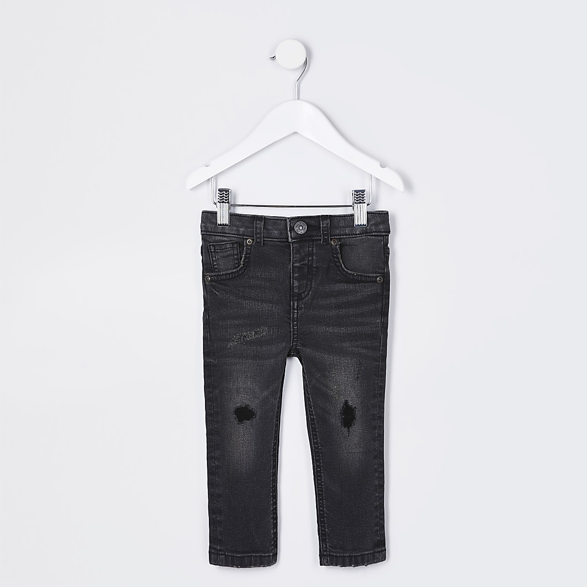 Mini boys black wash Sid ripped skinny jeans