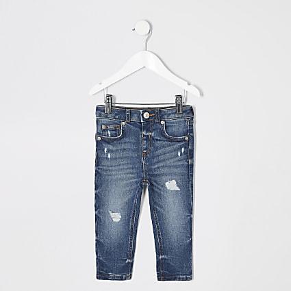 Mini boys mid blue Sid ripped skinny jeans