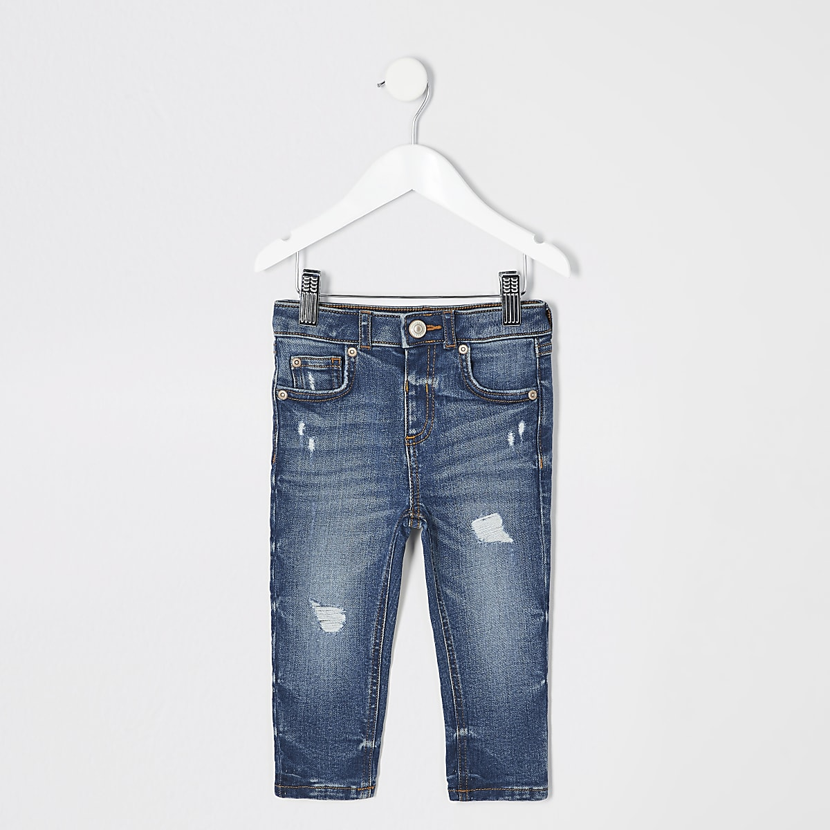 Mini - Sid - Middenblauwe ripped skinny jeans voor jongens