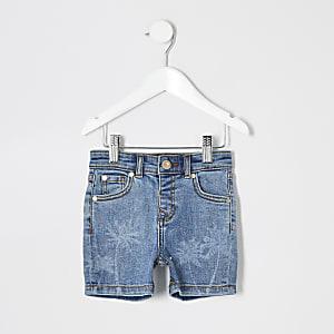 Mini - Dylan - Blauwe slim-fit short voor jongens