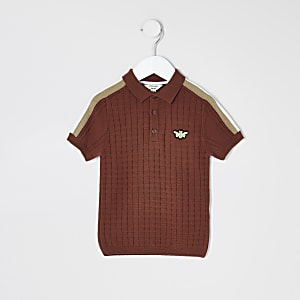 Mini boys rust textured polo shirt