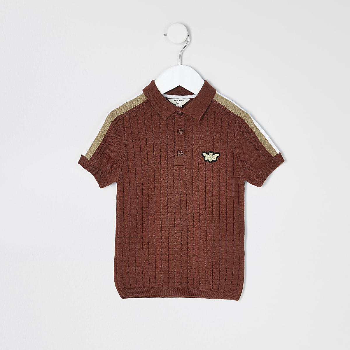 Mini boys rust textured polo shirt