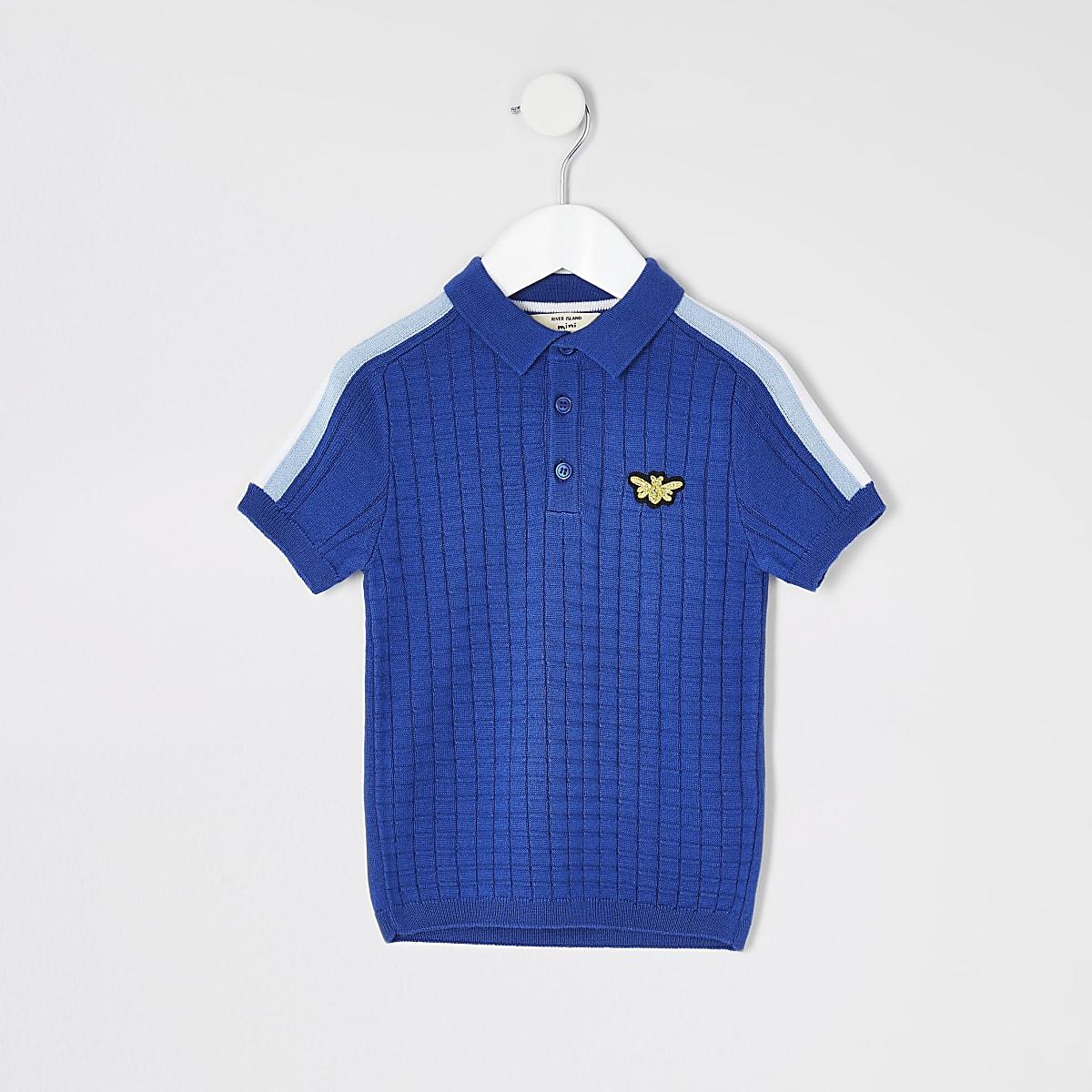 Mini boys blue textured polo shirt