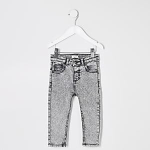 Mini boys grey Sid skinny acid jeans