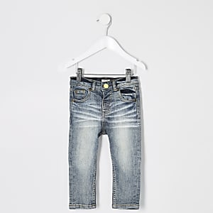 Mini boys mid blue Sid skinny wash jeans