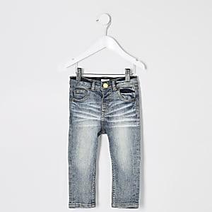 Mini - Sid - Middenblauwe skinny wash jeans voor jongens