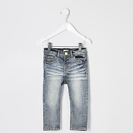 Mini boys mid blue Sid skinny wash jeans