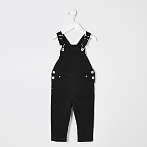 Mini kids black denim dungarees