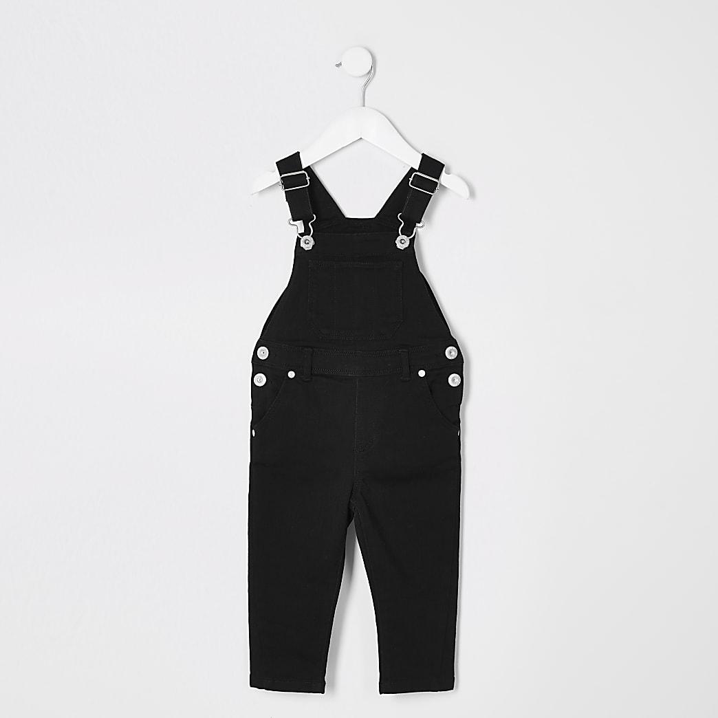 Schwarze Jeans-Latzhose