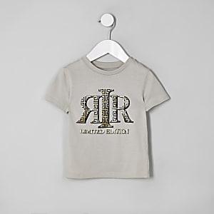 Mini - Kiezelkleurig T-shirt met RI-folieprint voor jongens