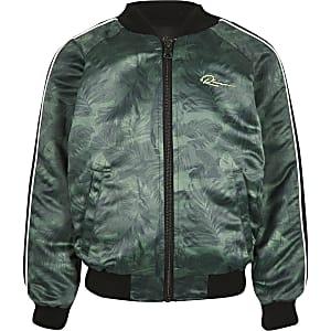 Boys khaki reversible RI bomber jacket