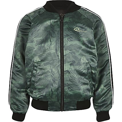 Boys khaki reversible RI bomber jacket