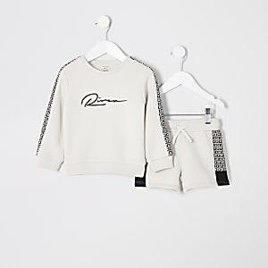 Mini - Ecru sweatshirtoutfit met RI-monogram voor jongens