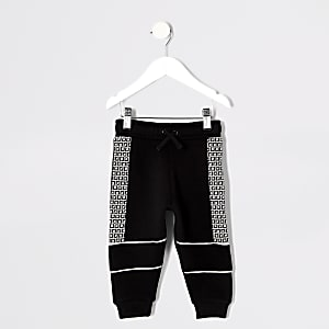 Mini boys black RI tape joggers