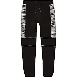 Boys black RI monogram joggers