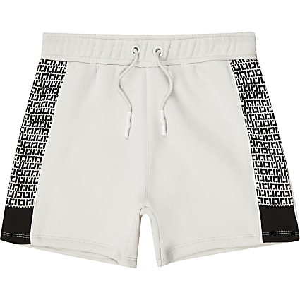 Boys ecru RI monogram jersey shorts