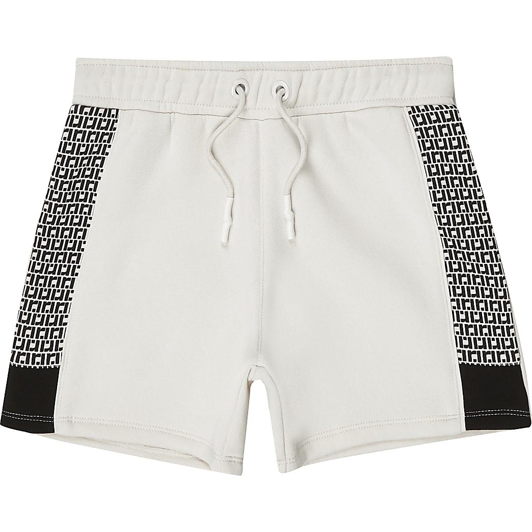 Jersey-Shorts mit RI-Monogramm in Ecru