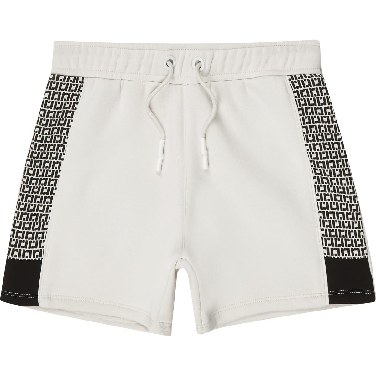 Boys ecru RI monogram jersey shorts