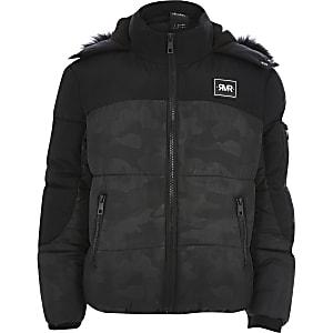 Zwarte gewatteerd jas met camouflageprint voor jongens