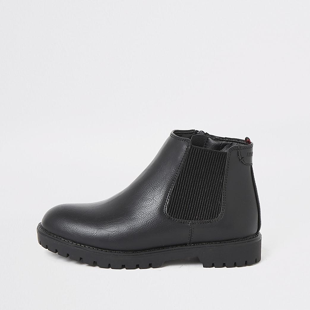 Schwarze, robuste Chelsea-Stiefel für Jungen