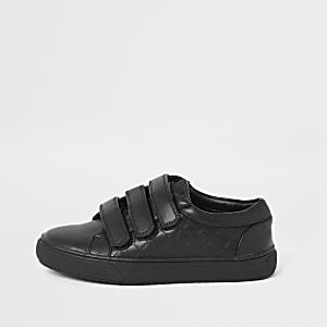 Zwarte sneakers met klittenband en RI-monogram voor jongens