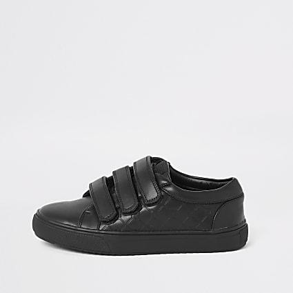 Boys black RI monogram velcro trainers