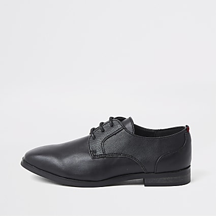 Boys black lace-up pointed brogue shoes