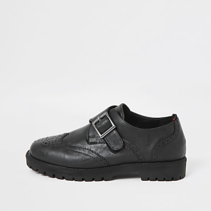 Boys black velcro brogues