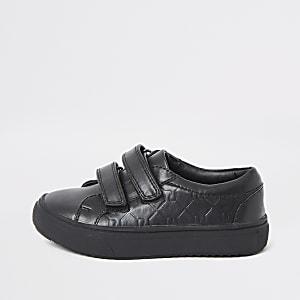 Mini - Zwarte gympen met klittenband en RI-monogram voor jongens