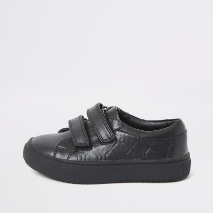 Mini boys black RI monogram velcro plimsolls