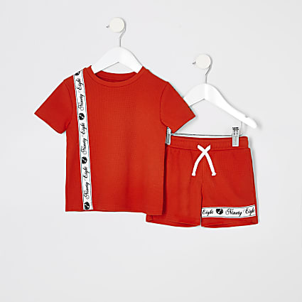 Mini boys red piqued short outfit