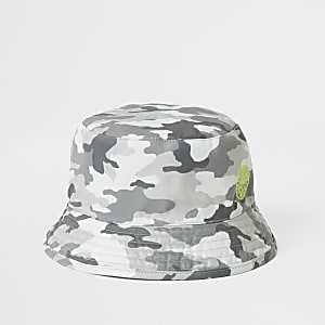 Grauer Anglerhut mit Camouflage-Muster