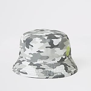 Grijs hoedje met camouflageprint voor jongens