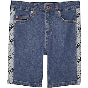 Boys mid blue Sid skinny tape shorts